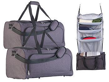 2er-Set faltbare Reisetaschen mit Wäsche-Organizer zum Aufhängen / Reisetasche
