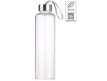 Trinkflasche aus Borosilikat-Glas, 550 ml, spülmaschinenfest, BPA-frei / Trinkflasche