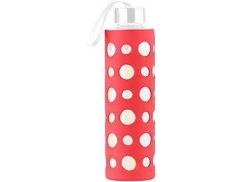 Rote Silikonhülle für Trinkflasche aus Borosilikat-Glas, 20 cm / Trinkflasche
