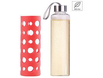 Trinkflasche aus Borosilikat-Glas, rote Silikonhülle, 550 ml, BPA-frei / Trinkflasche