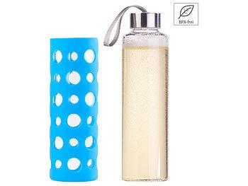 Trinkflasche aus Borosilikat-Glas, blaue Silikonhülle, 550ml, BPA-frei / Trinkflasche