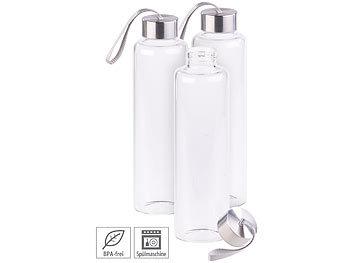 3er Set Trinkflasche aus Borosilikat-Glas, 550 ml, BPA-frei / Trinkflasche