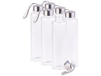 6er Set Trinkflasche aus Borosilikat-Glas, 550 ml, BPA-frei / Trinkflasche