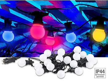 Party-LED-Lichterkette m. 20 LED-Birnen, 6 Watt, IP44, 4-farbig, 9,5 m / Lichterkette