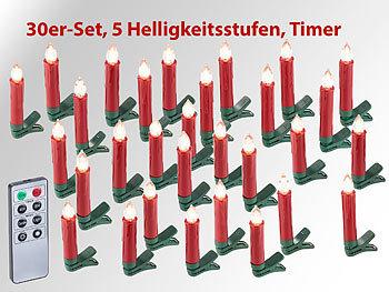 Lichterkette Weihnachtsbaum Kabellos.Lunartec Baumkerzen 30er Set Led Weihnachtsbaum Kerzen Mit Ir