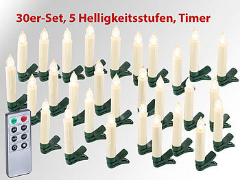 lunartec lichterkette kabellos 30er set led weihnachtsbaum kerzen mit ir fernbedienung timer. Black Bedroom Furniture Sets. Home Design Ideas