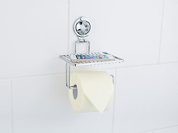 carlo milano toilettenpapierhalter toilettenpapier halter mit ablage und saugnapf verchromt. Black Bedroom Furniture Sets. Home Design Ideas