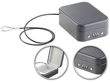 Mini-Stahl-Safe für Reise & Auto, Zahlenschloss, Sicherungskabel, 0,7l / Safe