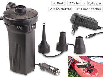 Elektrische Akku-Luftpumpe mit 3 Aufsätzen, für 12 & 230 V, 50 Watt / Akku Luftpumpe