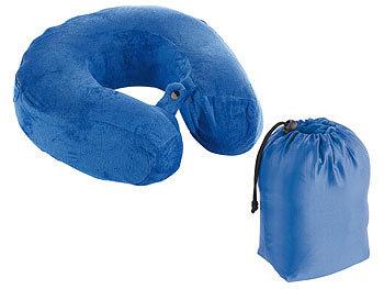 Memory-Foam-Nackenhörnchen mit Soft-Fleece-Bezug und Transport-Tasche / Nackenkissen