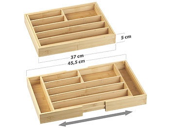 Variabler Bambus-Besteckeinsatz, 6 - 8 Fächer, ausziehbar 37 - 45,5 cm / Besteckeinsatz