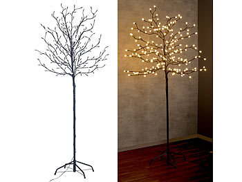 lunartec led baum outdoor led deko baum mit 200 beleuchteten knospen 150 cm drinnen drau en. Black Bedroom Furniture Sets. Home Design Ideas