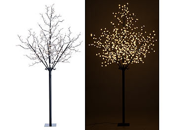 lunartec lichterbaum led deko baum mit 600 beleuchteten bl ten 250 cm f r innen au en led. Black Bedroom Furniture Sets. Home Design Ideas