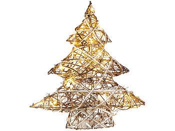 Handgefertigter Deko-Weihnachtsbaum mit 20 warmweissen LEDs, 40 cm / Weihnachtsbeleuchtung