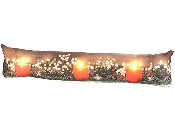 Zugluftstopper-Deko-Kissen mit Kerzen-Motiv, 3 LEDs, 90 x 20 cm / Zugluftstopper