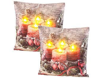 2er-Set Deko-Kissen mit Adventskranz-Motiv, 4 LEDs, 45 x 45 cm / Weihnachtskissen