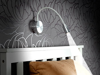 Lunartec Schwanenhalslampe Bett: LED Bett & Lese Leuchte mit Schwanenhals, Wandmontage, 3 W, kaltweiß (Leselampe Bett Schwanenhals)