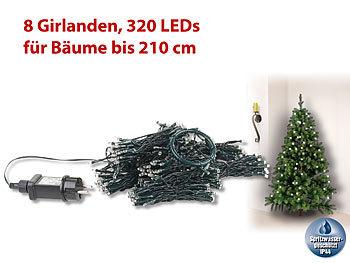 Lunartec weihnachtsbaum uberwurf lichterkette mit 8 girlanden