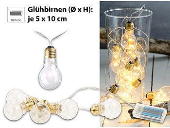 Lunartec Glühbirne mit Batterie: Party & Deko Lichterkette