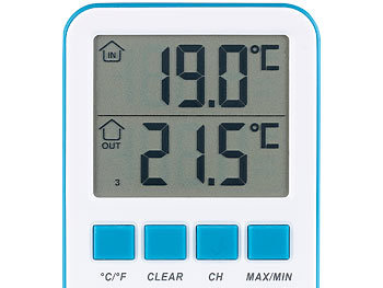 FreeTec Digitales Teich- und Poolthermometer mit LCD-Funk-Empfänger, IPX8 FreeTec Funk-Poolthermometer