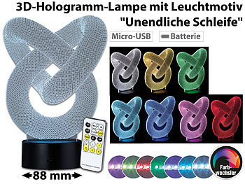 3D LAMPE 3D LED Leuchte, Auswahl aus 82 verschiedenen