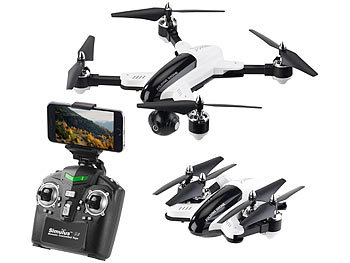 Faltbarer WiFi-FPV-Quadrocopter mit HD-Cam, 2,4-GHz-Fernsteuerung, App / Drohne