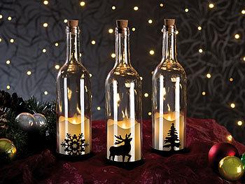 Lunartec Flaschen Lichter Deko Glasflasche Mit Led Kerze