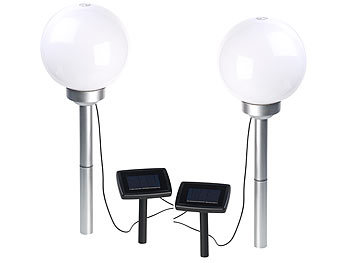 lunartec led gartenleuchten 2er set solar led leuchtkugeln rotierender effekt erdspie 20. Black Bedroom Furniture Sets. Home Design Ideas