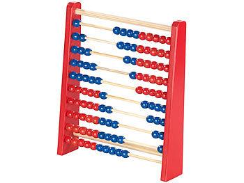 Holz-Rechenschieber mit 100 Holzperlen, 2 Farben (blau & rot) / Spielzeug