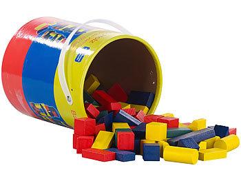 Holzbausteine im Aufbewahrungs-Eimer, 100 Stück, 4 Farben, 6 Formen / Kinder Spielzeug