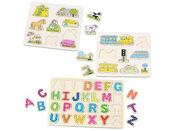 3er-Set bunte Kinder-Puzzles aus Holz: Buchstaben, Bauernhof & Verkehr / Spielzeug