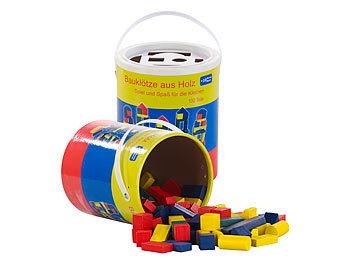 2er-Set Holzbausteine, Aufbewahrungseimer, 100 St., 4 Farben, 6 Formen / Spielzeug