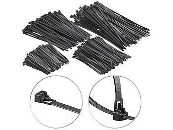 AGT 100er-Set wiederverschließbare Kabelbinder schwarz 300 x 7,6 mm