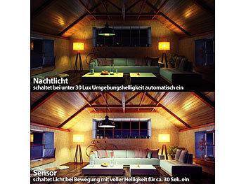 Luminea LED Leuchte mit Sensor: LED Lampe, Lichtautomatik