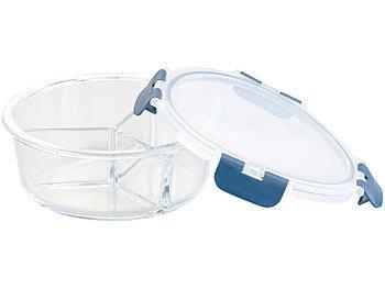 Glas-Frischhaltedose mit 3 Kammern, Klick-Deckel, -20 bis 520 °C, rund / Mikrowellengeschirr