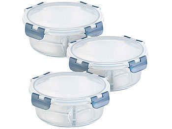 3er-Set Glas-Frischhaltedosen, 3 Kammern, Klick-Deckel, -20 bis 520°C / Mikrowellengeschirr