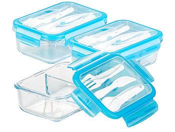3er-Set Glas-Frischhaltedosen, 2 Kammern, Besteck, Klick-Deckel, 840ml / Lunchbox