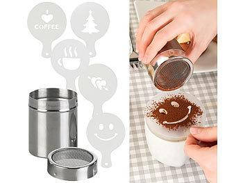 Kakao-Streuer aus Edelstahl mit Deko-Schablonen für Cappuccino & Co. / Kakaostreuer