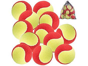 12er-Set Tennisbälle, 77 mm für Jugend & Beginner, gelb-rot, Tragenetz / Tennisbälle
