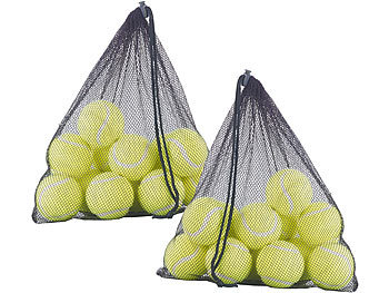 24er-Set Tennisbälle, 65 mm für Fortgeschrittene, gelb, mit Tragenetz / Tennisbälle