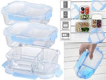 3er-Set Glas-Frischhaltedosen mit Klick-Deckeln & 3 Kammern, 1 l / Frischhaltedosen