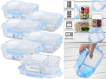 6er-Set Glas-Frischhaltedosen mit Klick-Deckeln & 3 Kammern, 1 l / Frischhaltedosen