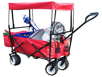 Faltbarer Bollerwagen mit Dach und Offroad-Rädern, 80 kg Tragkraft / Bollerwagen
