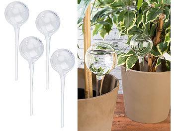 4er-Set Giessfrei-Bewässerungs-Kugeln aus Glas, transparent, Ø 8,5 cm / Bewässerungskugel