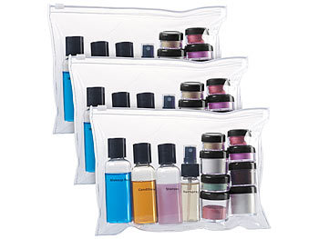 Reissverschluss-Tasche, 12 Kosmetik-Behältern f.Flug-Handgepäck, 3erSet / Reiseset