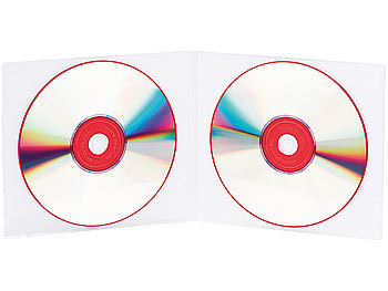 PEARL Doppel CD Slim Soft Boxen im 10er-Set, 7 mm, transparent PEARL CD-Jewel-Case