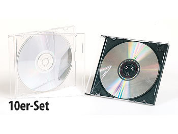 10er-Set Slim-CD-Hüllen transparent/schwarz CD-Hüllen