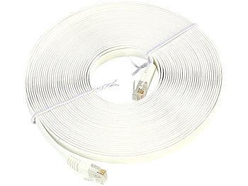 Netzwerk-Kabel Cat5e flach, weiss, 10m / Lan Kabel