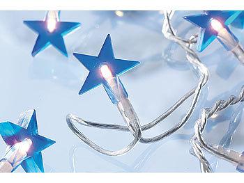 Lunartec motiv lichterkette stars 20 blaue sterne 3m - Lichterkette an der wand ...