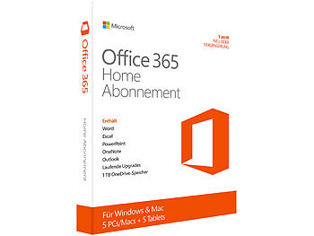 Microsoft Office 365 Home Abonnement (5 Benutzer, ProductKeyCard) Microsoft Office-Pakete (PC-Softwares)